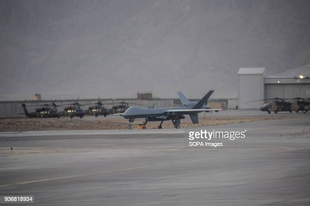 Armed US General Atomics MQ9 Reaper drone heading for takeoff at Kandahar Air Base Airpower is seen as a decisive advantage of Afghan government...
