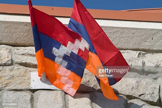 armenia arzebaijan  nagorno-karabakh - armenian flag stock pictures, royalty-free photos & images
