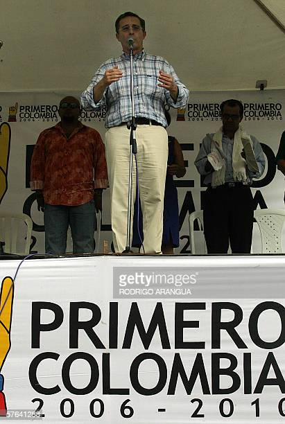Colombian President and candidate to reelection Alvaro Uribe delivers a speach during a political rally in Armenia departament Quindio 17 May 2006...