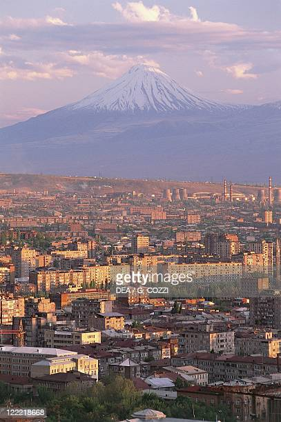 Armenia Erevan as seen from the Victory Park with the Mount Ararat in the background
