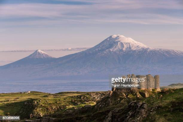 armenia, mount ararat and amberd fortress, yerevan. - armenia stock pictures, royalty-free photos & images