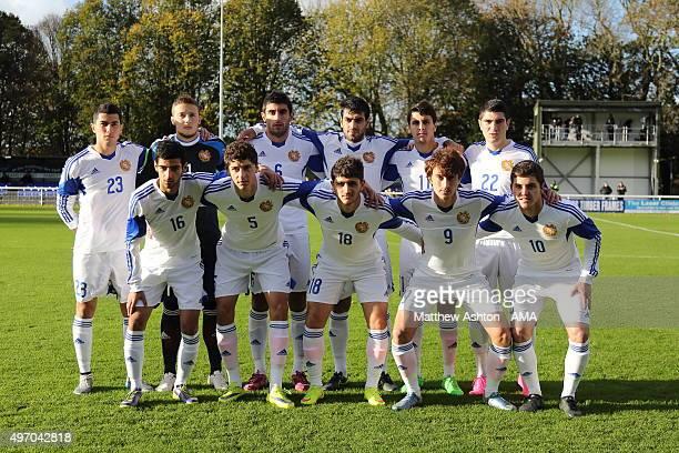 Armenia U21 team group prior to the UEFA U21 Championship Qualifier between Wales and Armenia at Nantporth on November 13 2015 in Bangor Wales