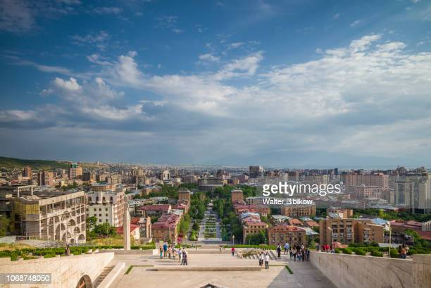 armenia, yerevan, the cascade, high angle view of city skyline - yerevan stock pictures, royalty-free photos & images