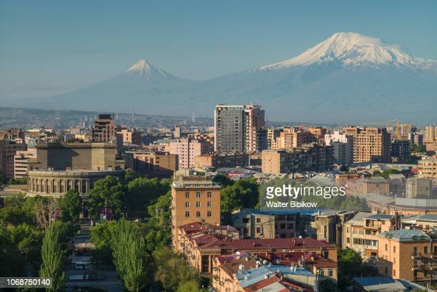 armenia, yerevan, the cascade, high angle view of the city and mt. ararat - yerevan stock pictures, royalty-free photos & images