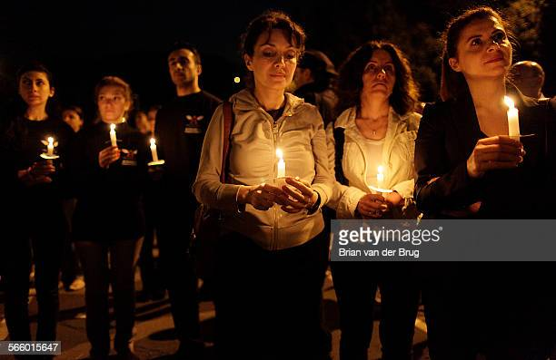Armenian Americans along with friends and supporters hold a candlelight vigil in memory of those who died in the Armenian genocide at Glendale Civic...