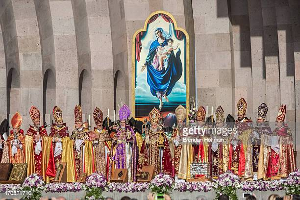Armenian Apostolic Church leaders conduct a canonization ceremony for victims of the Armenian genocide at the Mother See of Holy Etchmiadzin a...