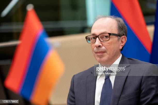 Armenian Foreign Minister Ara Aivazian is waiting prior to a bilateral meeting in the Justus Lispsius building, the EU Council headquarter on...