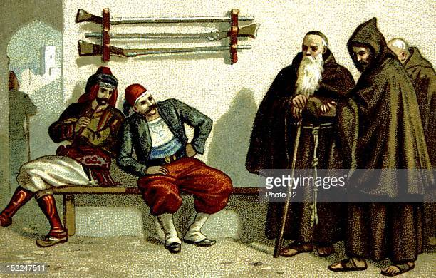 Armenian genocide carried out by the Turks in 18941896 Reverends Fathers Capuchins from Malata made prisoners Chromolithograph Late 19th century...