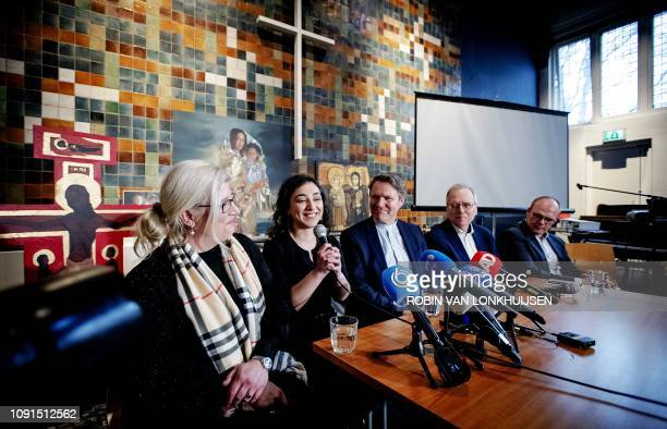 Armenian Hayarpi Tamrazyan speaks during a press conference in De Bethelkerk on January 30 after a continious church services was stopped A Dutch...