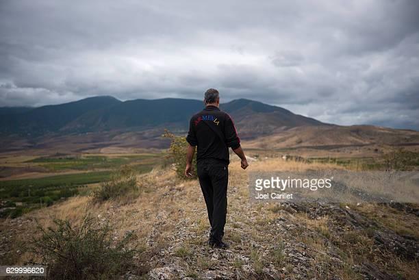 Armenian man walking in Nagorno-Karabakh
