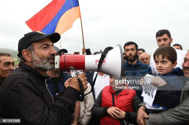 Armenian opposition leader Nikol Pashinyan addresses the crowd during a rally in Yerevan Armenia on April 27 2018