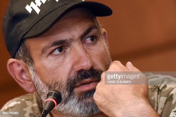 Armenian opposition leader Nikol Pashinyan looks on during a press conference in Yerevan on April 24 2018