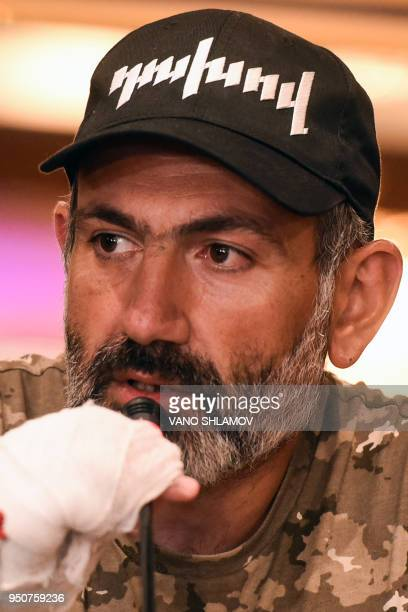 Armenian opposition leader Nikol Pashinyan speaks during a press conference in Yerevan on April 24 2018