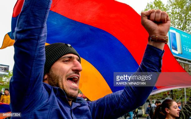 Armenian opposition supporter shouts during a rally in central Yerevan on April 21 held to protest former president Serzh Sarkisian's election as...