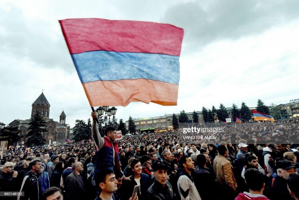 TOPSHOT-ARMENIA-POLITICS-OPPOSITION-DEMO : News Photo