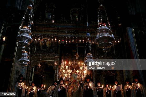 Armenian Patriarch of Jerusalem Nurhan Menugian leads the traditional Easter Washing of the Feet ceremony at St. James Cathedral in Jerusalem's Old...