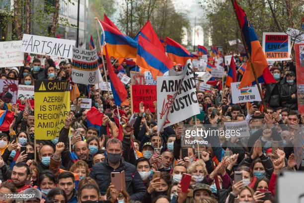 Armenian people demonstrate in front of the European Council in Brussels, Belgium on 7 October 2020. Armenian people gather in front of the EU...