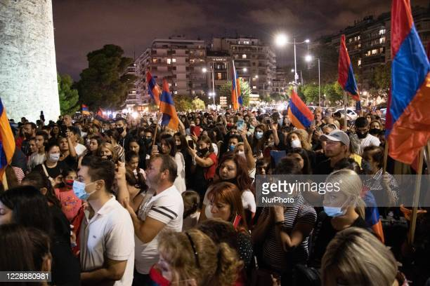Armenian people with the support of the Committee of Armenians, the local community and Greeks demonstrate in front of the White Tower, the symbol of...