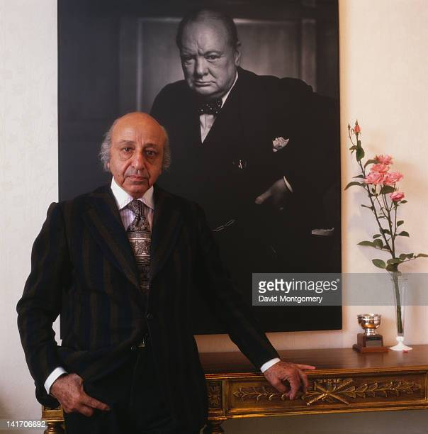 Armenian photographer Yousuf Karsh circa 1985 Behind him is his 1941 portrait of Winston Churchill which featured on the cover of Life magazine in...
