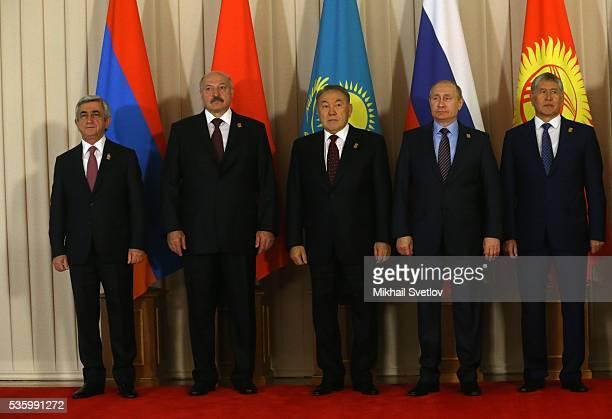 ASTANA KAZAKHSTAN MAY 31 Armenian President Serge Sargsyan Belarussian President Alexander Lukashenko Kazakh President Nursultan Nazarbayev Russian...