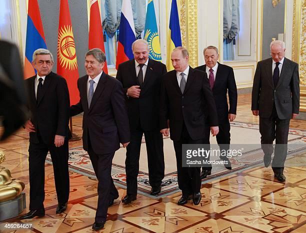 Armenian President Serge Sargsyan Kyrgyz President Almazbek Atambayev Belarussian President Alexander Lukashenko Russian President Vladimir Putin...