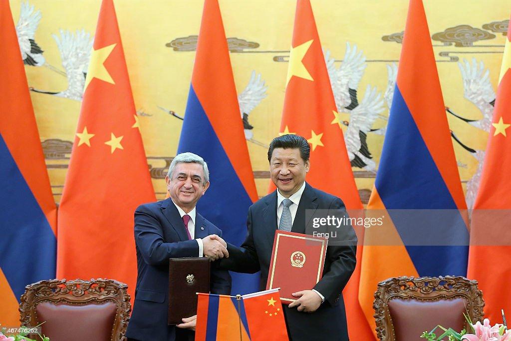 Presidnet Xi Jinping Meets Visiting Armenian President Serzh Sargsyan : News Photo