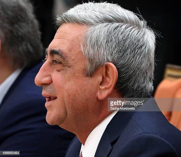 Armenian President Serzh Sargsyan speeches during the Summit of Eurasian Economic Union on October 10 2014 in Minsk Belarus Leaders of former Soviet...