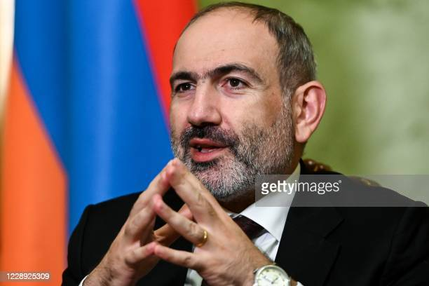 Armenian Prime Minister Nikol Pashinyan gives an interview to AFP in Yerevan on October 6, 2020. - Battles raged between Armenian and Azerbaijani...