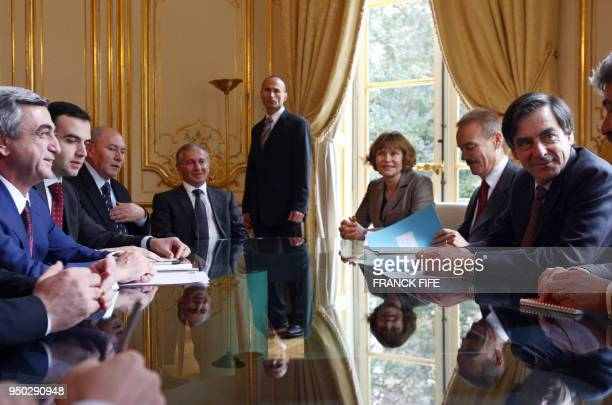 Armenian Prime minister Serzh Sarkisian and aides meet with counterpart François Fillon at the Hotel Matignon the French Premier's residency in Paris...