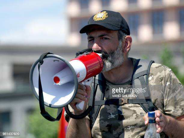 Armenian protest leader Nikol Pashinyan addresses supporters during a rally in Yerevan on April 26 2018