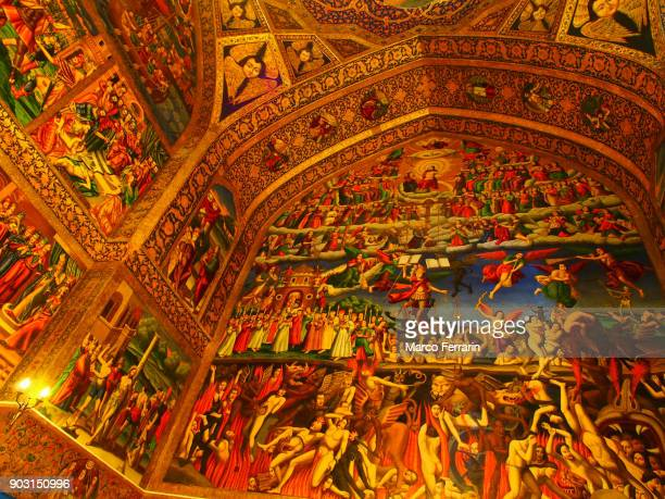 Armenian Religious Artwork, Depiction of Heaven, Earth, and Hell inside the Vank Cathedral in Isfahan, Iran