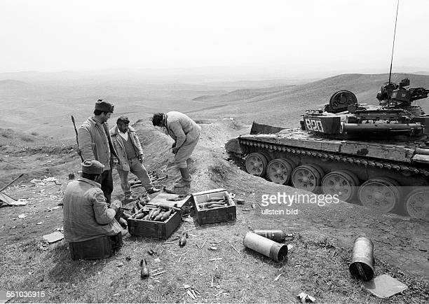 Armenian soldiers during a cease fire in the enclave Nagorno-Karabakh .