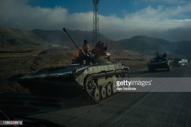 Armenian tanks leave Nagorno-Karabakh following the end of the war with Azerbaijan on November 12, 2020 in Vardenis, Armenia. Ethnic Armenians living...