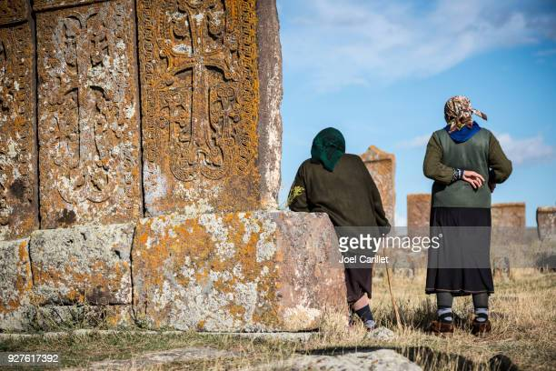 armenian women at noratus cemetery - armenia stock pictures, royalty-free photos & images