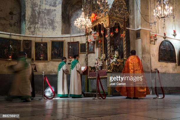Armenian worship at Church of the Nativity, Bethlehem, Palestine