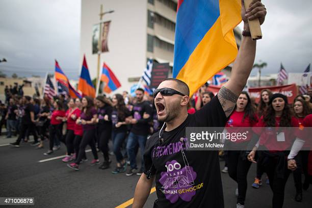 ArmenianAmericans and activists march to the Turkish Consulate to commemorate the 100th anniversary of the mass killings of Armenians under the...