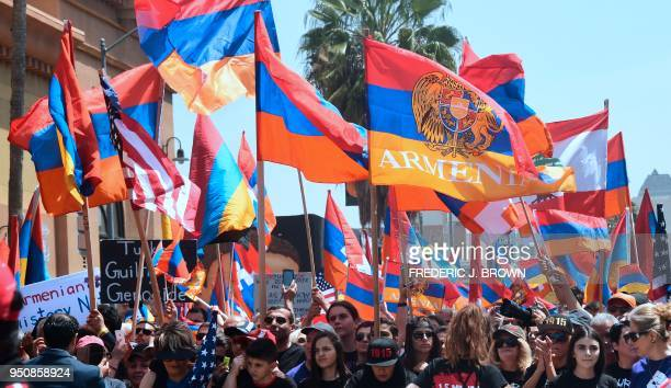 ArmenianAmericans march in protest through the Little Armenia neighborhood of Hollywood California on April 24 2018 demanding recognition by Turkey...