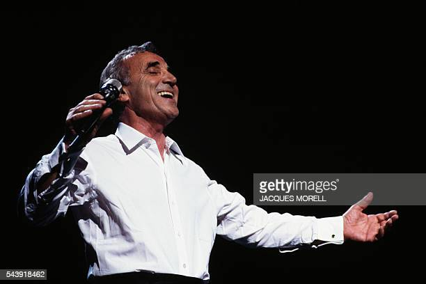 """Armenian-born French singer Charles Aznavour performs during a gala entitled """"Aznavour-Armenia."""""""