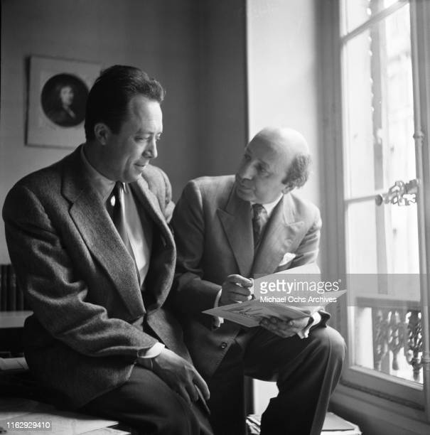 ArmenianCanadian photographer Yousuf Karsh and French philosopher author and journalist Albert Camus Paris France 1958