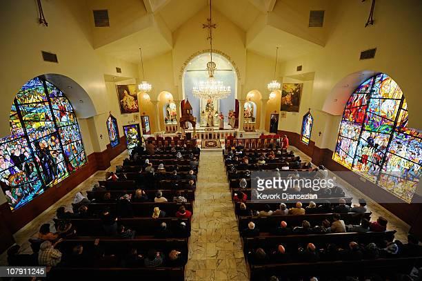 Armenians celebrate Christmas mass at St Garabed Armenian Apostolic Church on January 6 2011 in Los Angeles California Many eastern and orthodox...