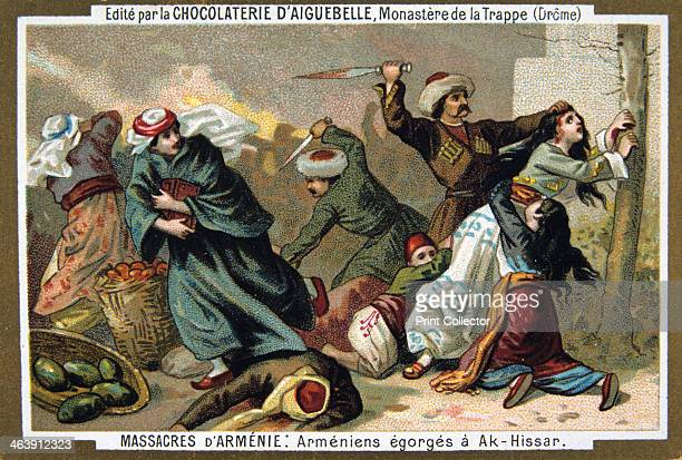 Armenians have their throats cut at AkHissar 1895 Armenians suffer bloody attacks at Akhisar in Turkey Scene from the Massacres of Armenia card...