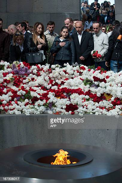 Armenians visit the genocide memorial which commemorates the 1915 mass killing of Armenians in the Ottoman Empire in Yerevan on April 24 as they mark...