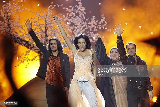Armenia's Eva Rivas perform the song Apricot Stone during the Eurovision Song Contest 2010 final at the Telenor Arena in Baerum near Oslo Norway on...