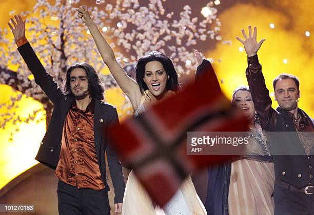 "Armenia's Eva Rivas perform the song ""Apricot Stone"" during the Eurovision Song Contest 2010 final at the Telenor Arena in Baerum, near Oslo, Norway,..."