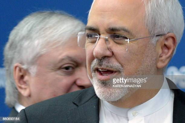 Armenia's Foreign Minister Edward Nalbandian meets with his Iranian counterpart Mohammad Javad Zarif in Yerevan on November 28 2017 / AFP PHOTO /...