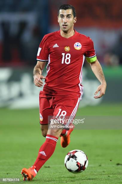 Armenia's midfielder Henrikh Mkhitaryan controls the ball during the FIFA World Cup 2018 qualification football match between Armenia and Poland in...