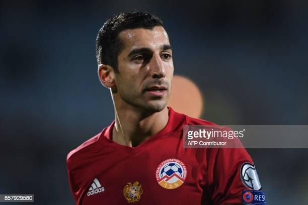 Armenia's midfielder Henrikh Mkhitaryan looks on during the FIFA World Cup 2018 qualification football match between Armenia and Poland in Yerevan on...