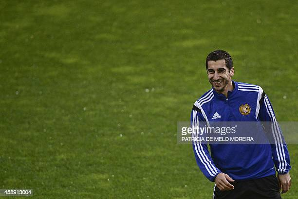 Armenia's midfielder Henrikh Mkhitaryan takes part in a training session at the Algarve stadium in Faro southern Portugal on November 13 on the eve...