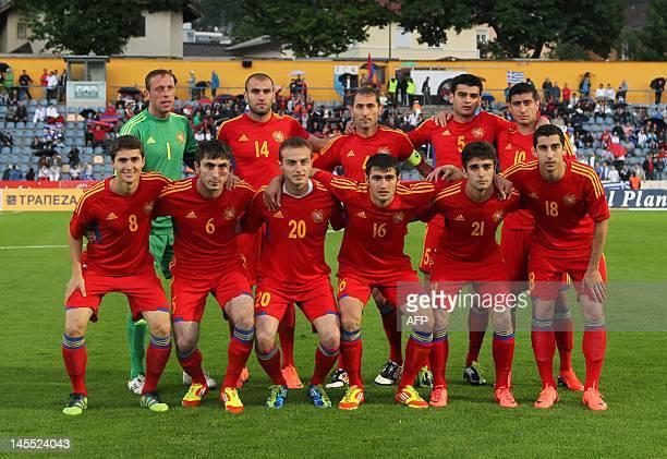 Armenia's national football team players Roman Berezovski Yura Movisisyan captain Sargis Hovsepyan Robert Arzumanyan Gevorg Ghazaryan and Pizzeli...