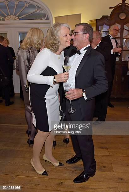 Armgard Seegers-Karasek and Jan Hofer attend the 'Champagnepreis fuer Lebensfreude' at Hotel Louis C Jacob on April 25, 2016 in Hamburg, Germany.